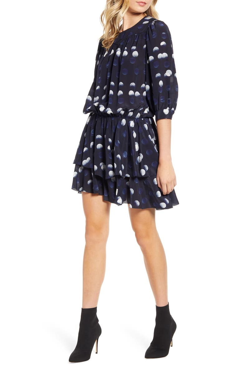 ZADIG & VOLTAIRE Rooka Dots Silk Fit & Flare Dress, Main, color, MARINE