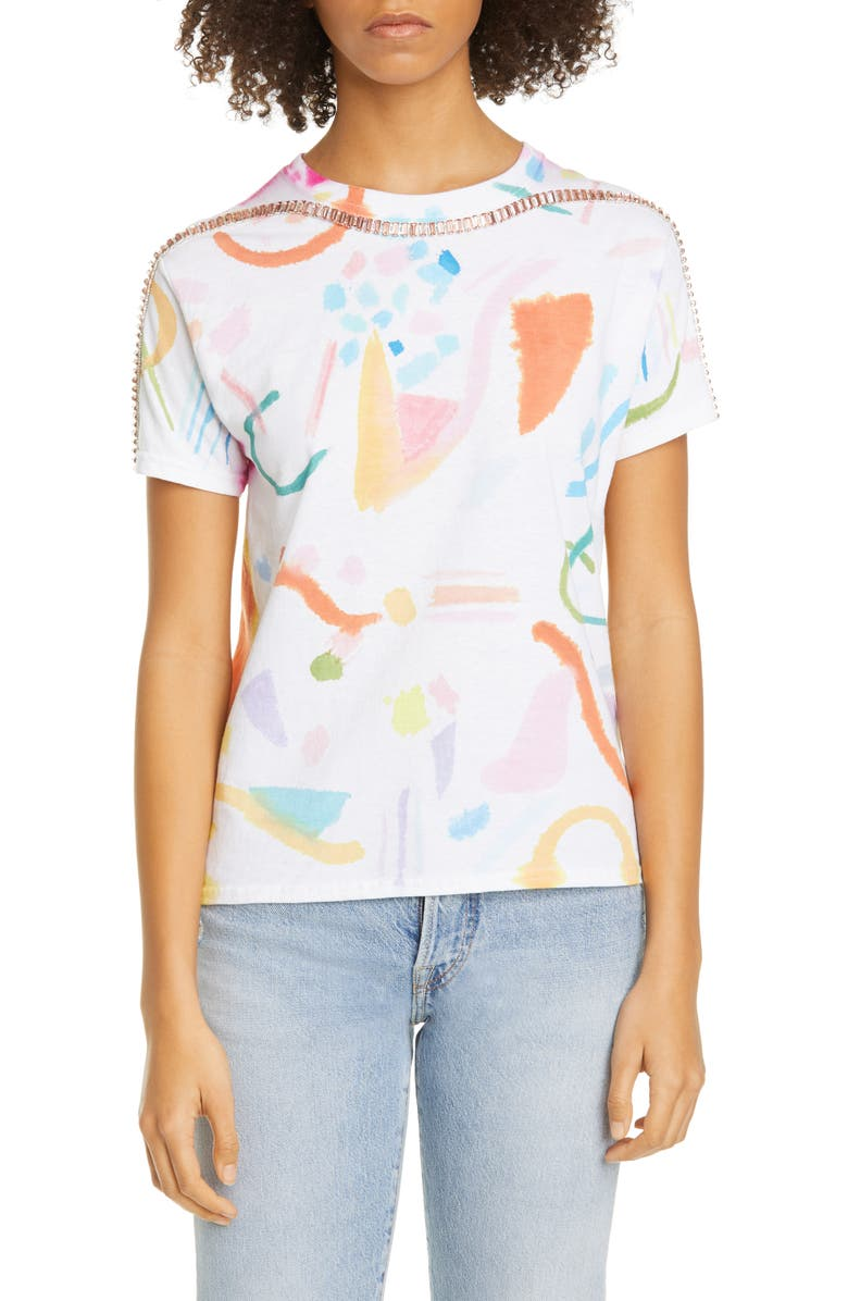 COLLINA STRADA Sporty Spice Embellished Mixed Print T-Shirt, Main, color, MEMPHIS
