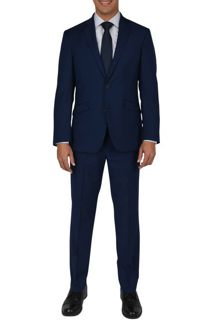Image of Kenneth Cole Reaction Nested Modern Blue Two Button Notch Lapel Slim Fit Suit
