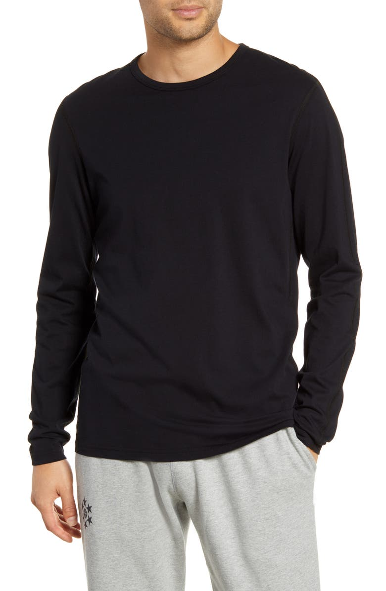 REIGNING CHAMP Crewneck Long Sleeve T-Shirt, Main, color, BLACK