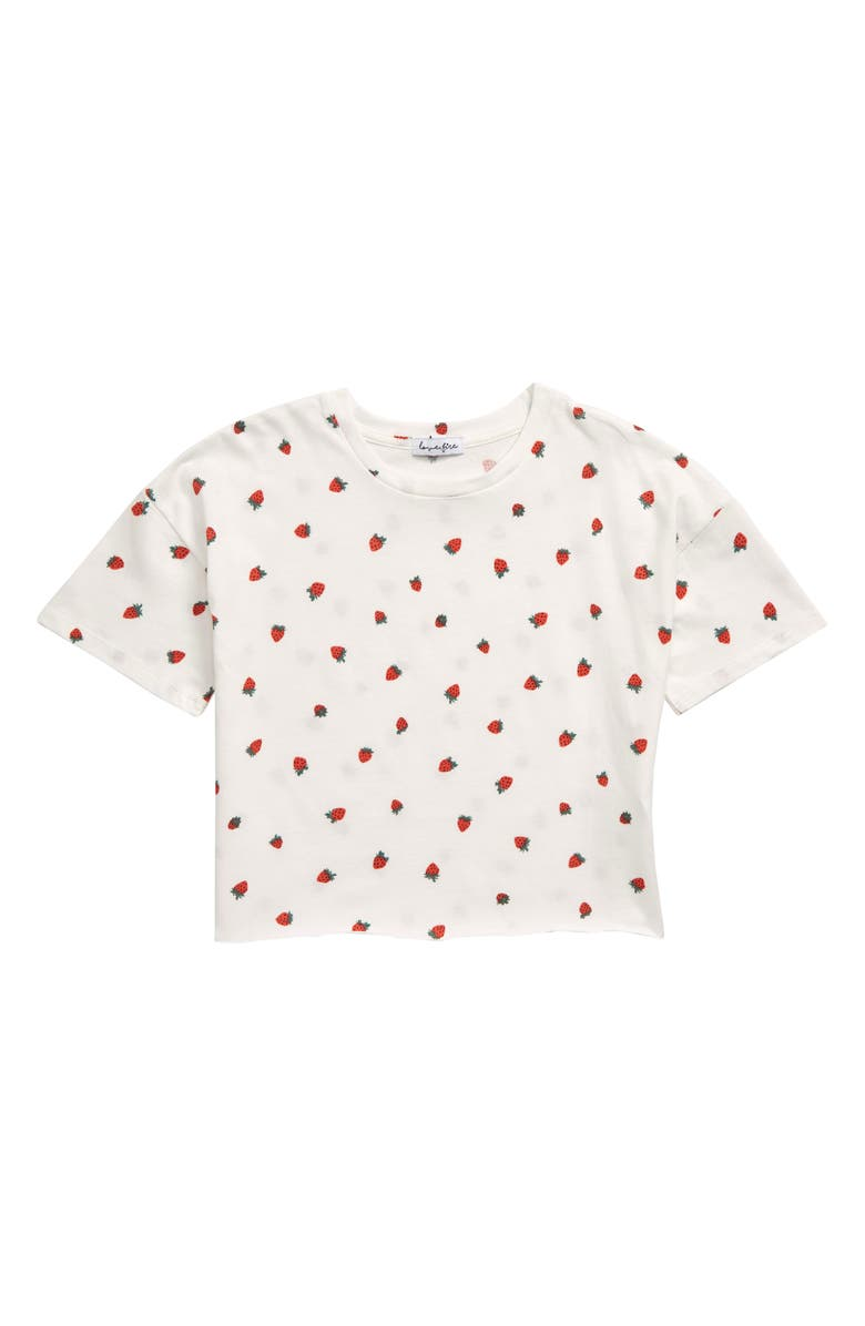LOVE, FIRE Strawberry Print Tee, Main, color, IVORY PINK