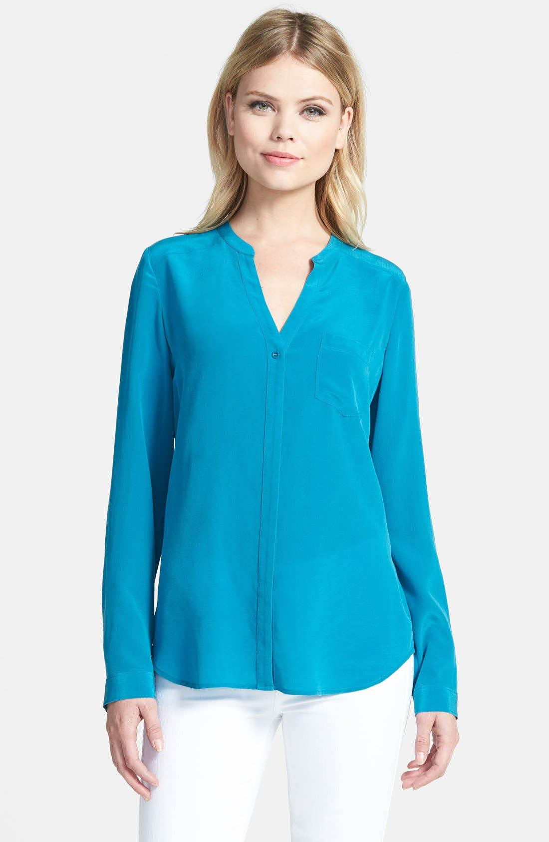 ,                             Collarless Silk Blouse,                             Main thumbnail 51, color,                             430