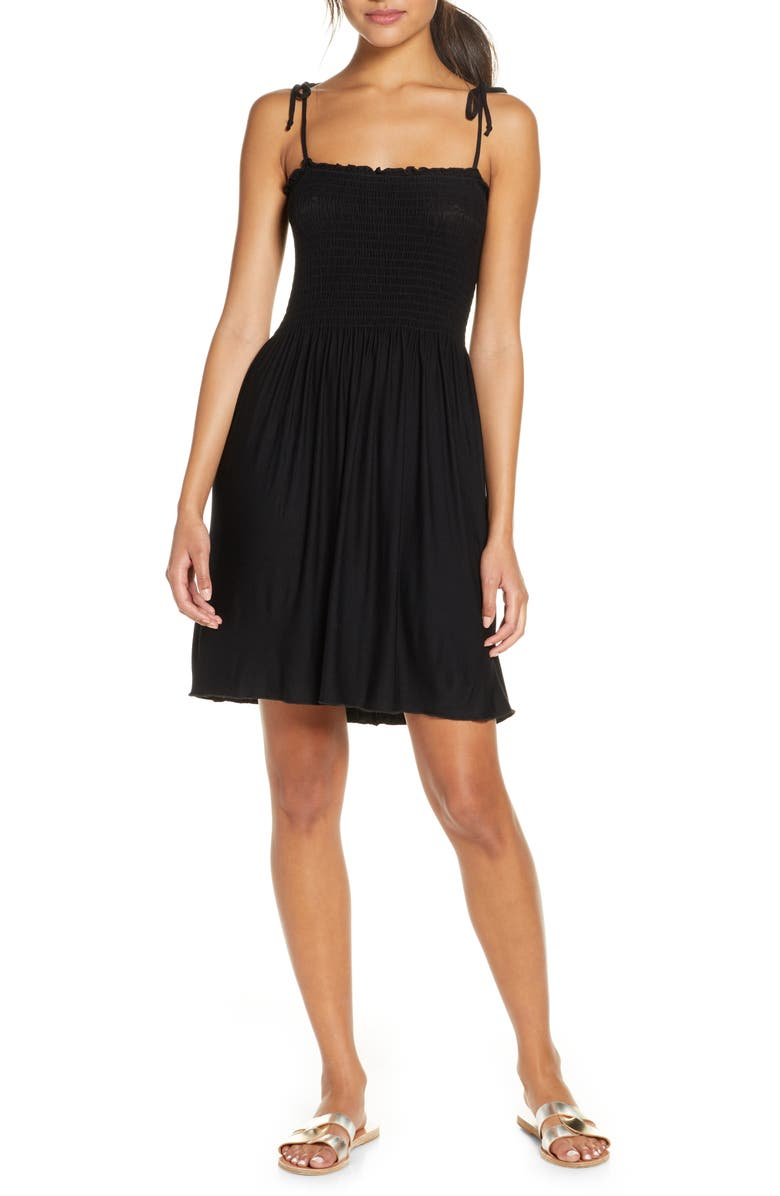 BECCA Square Neck Smocked Beach Dress, Main, color, BLACK