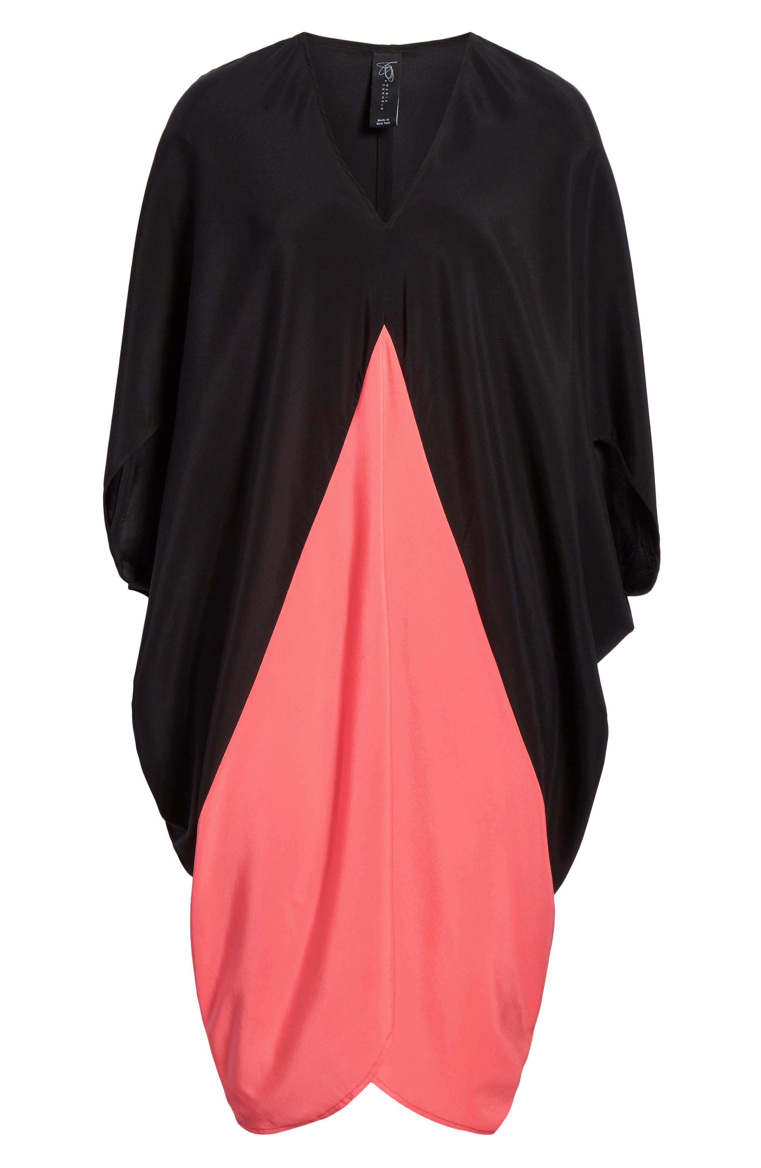 ,                             Koya Colorblock Stretch Silk Dress,                             Alternate thumbnail 8, color,                             BLACK/ NEON ROSE