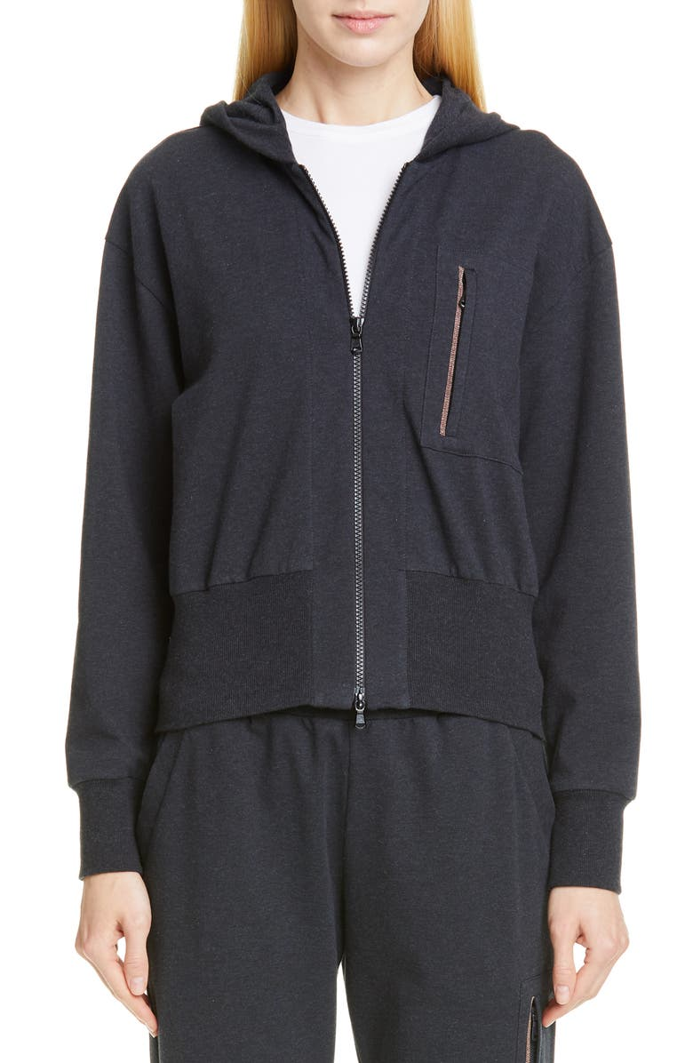 BRUNELLO CUCINELLI Monili Pocket French Terry Hoodie, Main, color, ANTHRACITE