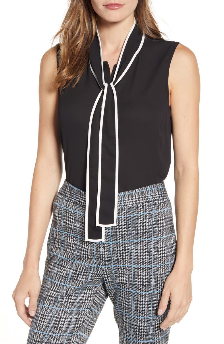 VINCE CAMUTO Contrast Tie Neck Blouse, Main, color, RICH BLACK