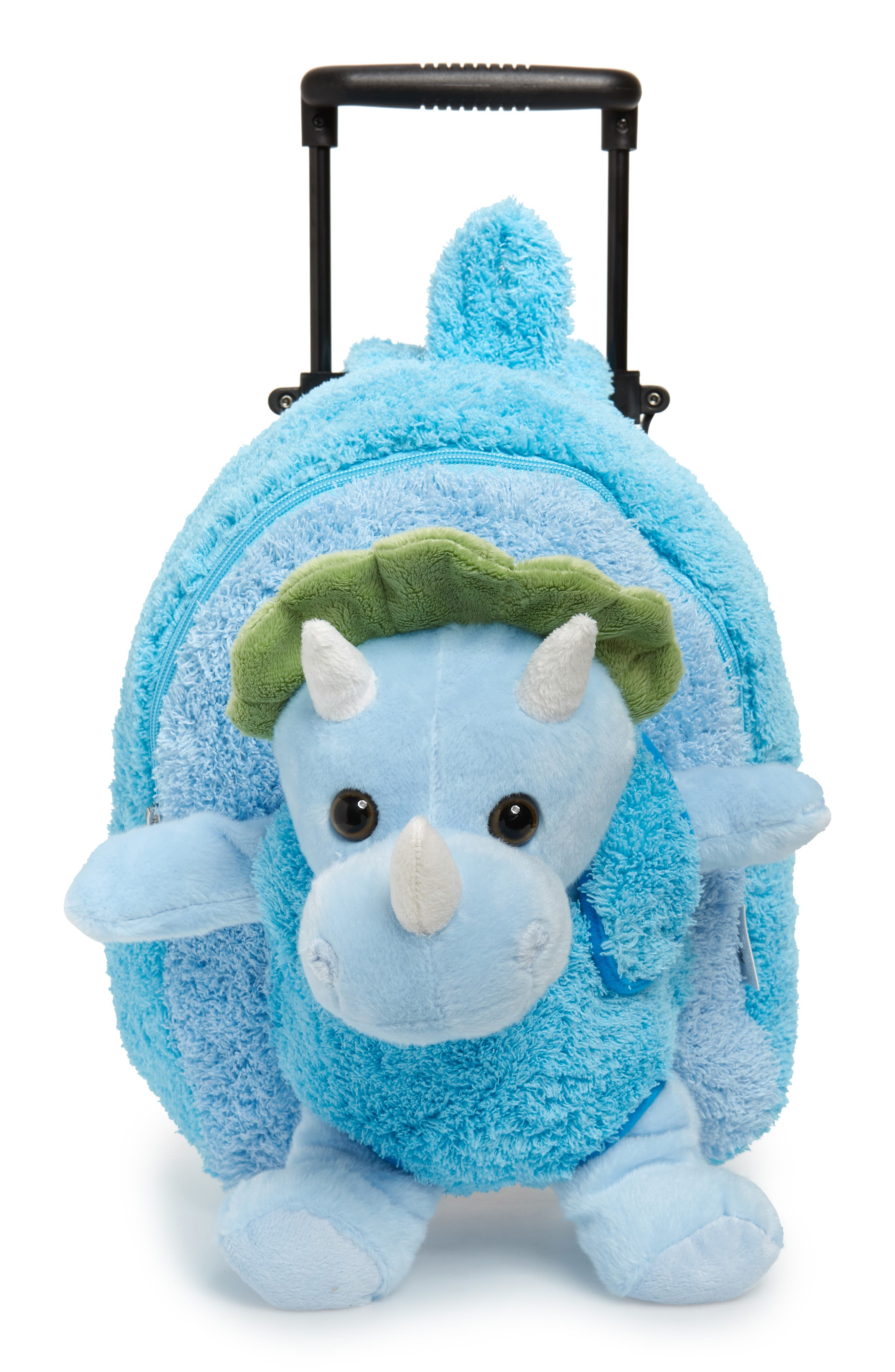 A dinosaur goes along for the ride on a plush wear-or-wheel backpack bag perfect for small travelers staying overnight at grandma and grandpa\\\'s house. When your little one gets to their destination, the dino friend can be detached and is all ready to snuggle and play. Style Name: Popatu Dinosaur Trolley Backpack (Kids). Style Number: 5866803. Available in stores.