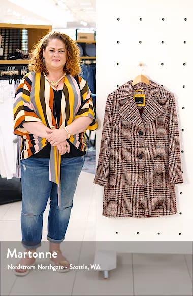 Grid Plaid Pleat Back Wool Blend Coat, sales video thumbnail