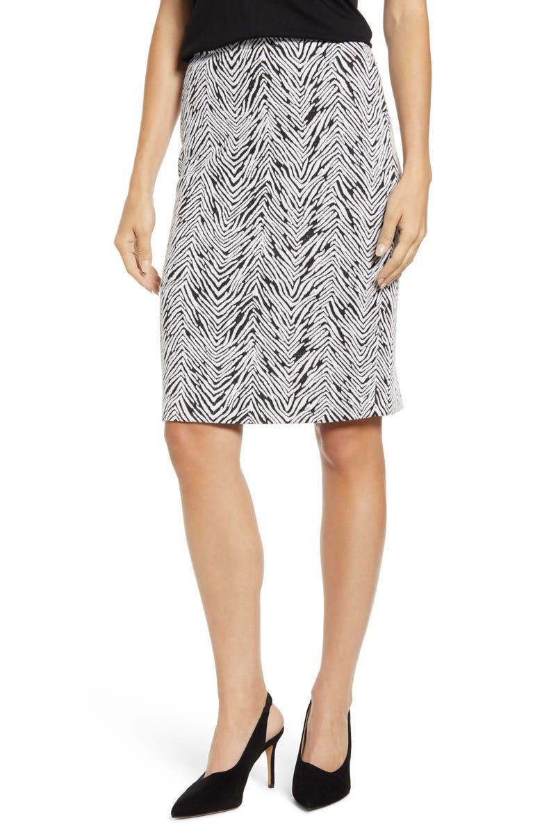 VINCE CAMUTO Zebra Jacquard Pencil Skirt, Main, color, RICH BLACK