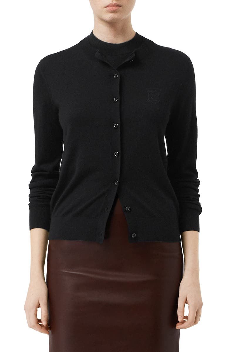 BURBERRY Monogram Logo Cashmere Cardigan, Main, color, BLACK