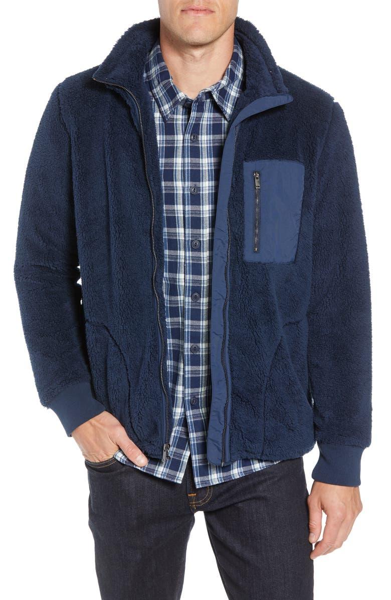 UGG<SUP>®</SUP> Lucas High Pile Fleece Sweater Jacket, Main, color, NAVY
