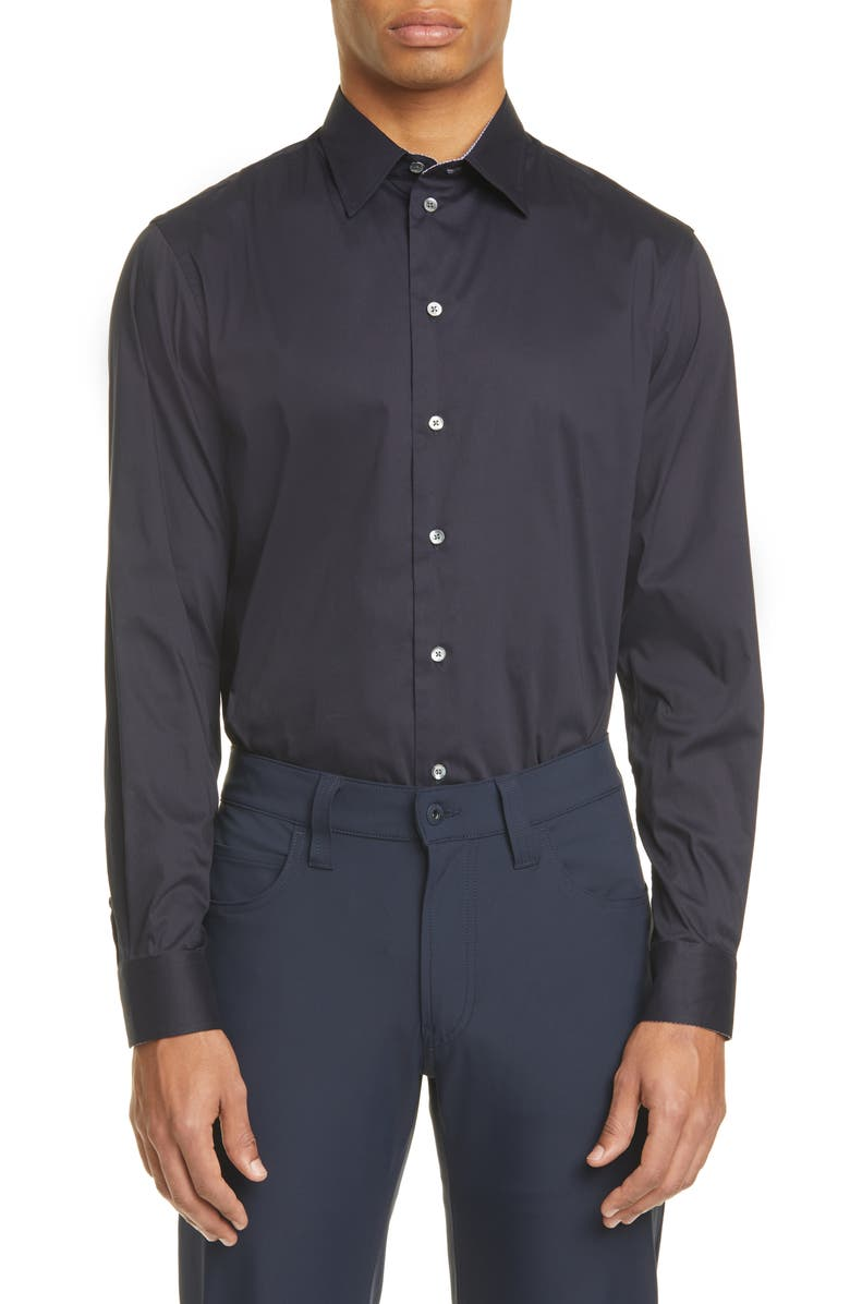 EMPORIO ARMANI Slim Fit Stretch Solid Button-Up Shirt, Main, color, NAVY