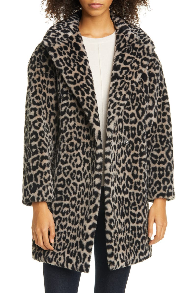 HARRIS WHARF LONDON Double Breasted Leopard Teddy Faux Fur Coat, Main, color, BLACK