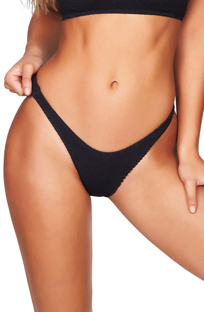 BOUND BY BOND-EYE The Scene High-Cut Ribbed Bikini Bottoms, Main, color, BLACK
