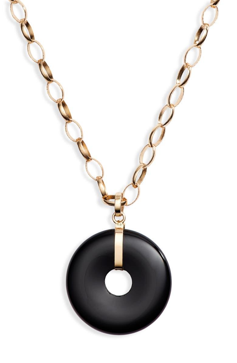 LOREN STEWART Bella Onyx Donut Pendant Necklace, Main, color, YELLOW GOLD/ BLACK ONYX