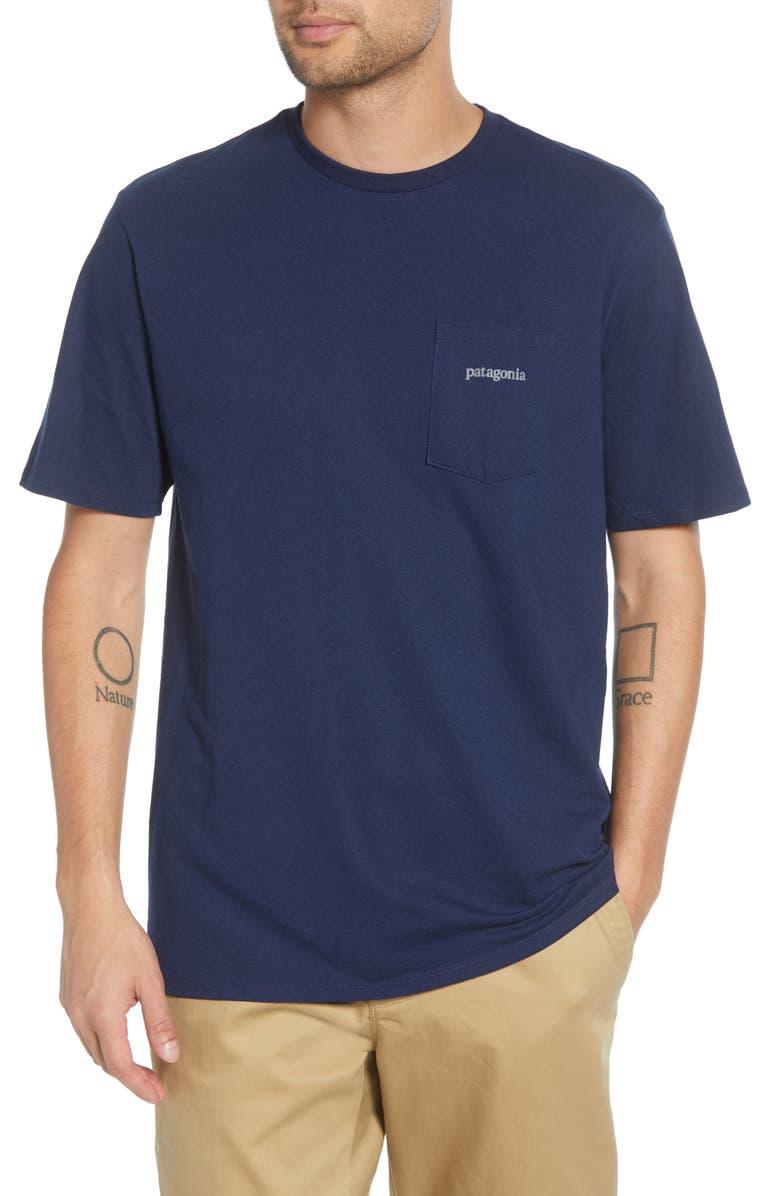 PATAGONIA Line Logo Ridge Responsibili-Tee Pocket T-Shirt, Main, color, CLASSIC NAVY