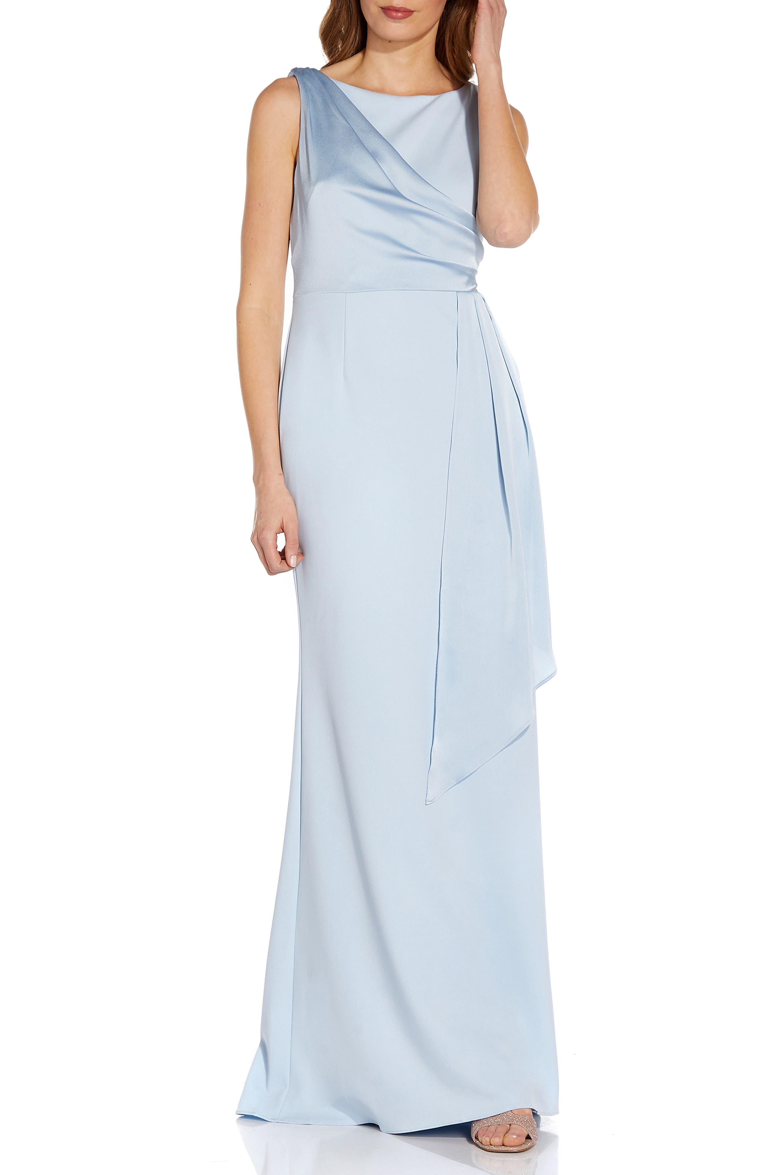 Satin Drape Crepe Gown