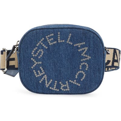 Stella Mccartney Eco Studded Logo Organic Denim Belt Bag - Blue