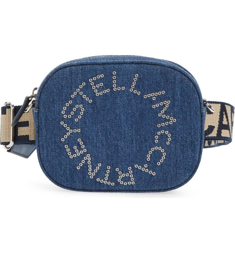 STELLA MCCARTNEY Eco Studded Logo Organic Denim Belt Bag, Main, color, 460