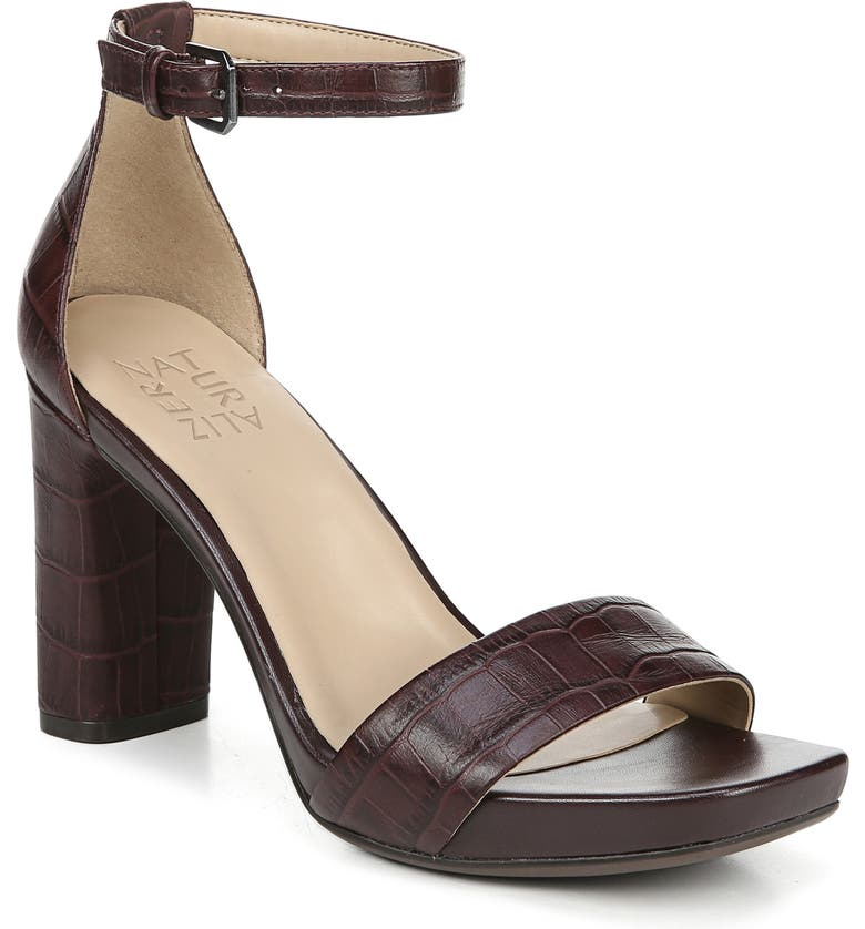 NATURALIZER Joy Ankle Strap Sandal, Main, color, BORDO CROCO LEATHER