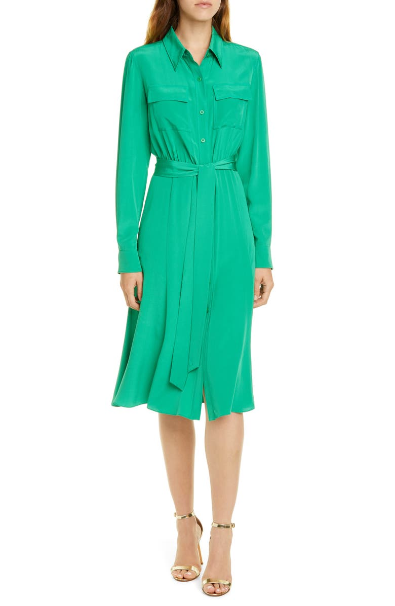 DVF Antoinette Long Sleeve Silk Shirtdress, Main, color, STALK