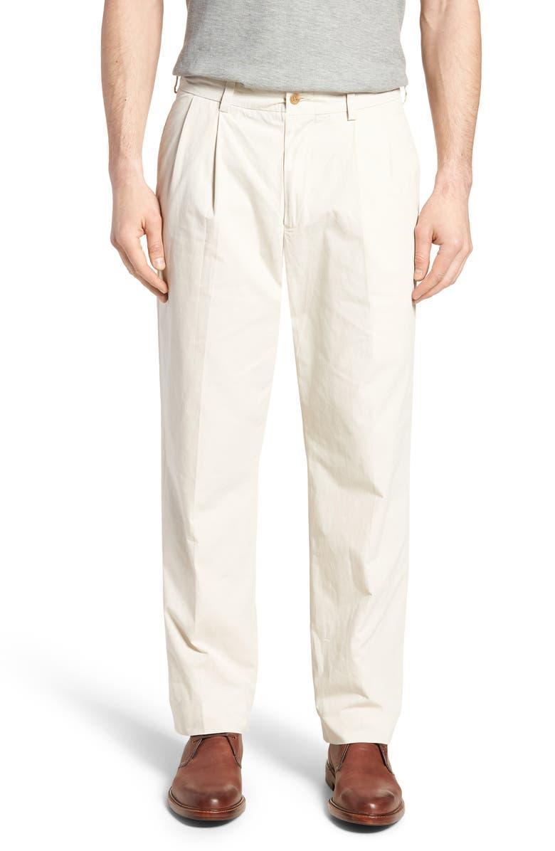 BILLS KHAKIS M2 Classic Fit Pleated Tropical Cotton Poplin Pants, Main, color, SAND