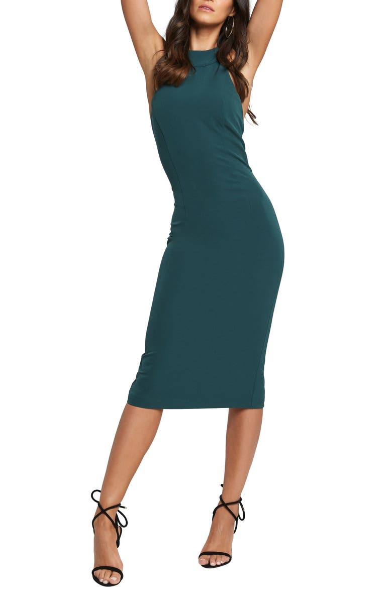 BARDOT Elsy Backless Cocktail Dress, Main, color, DARK GREEN