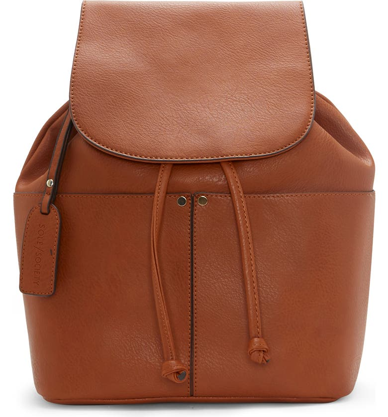 SOLE SOCIETY Noemi Faux Leather Backpack, Main, color, COGNAC