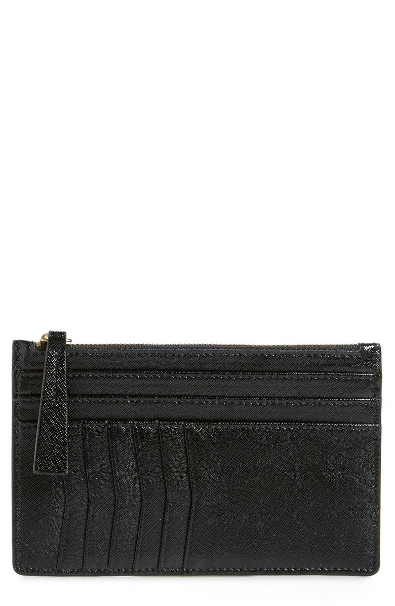 NORDSTROM Margaux Leather Passport & Card Case, Main, color, BLACK