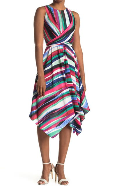Image of Maggy London Striped Sleeveless Tie Waist Midi Dress