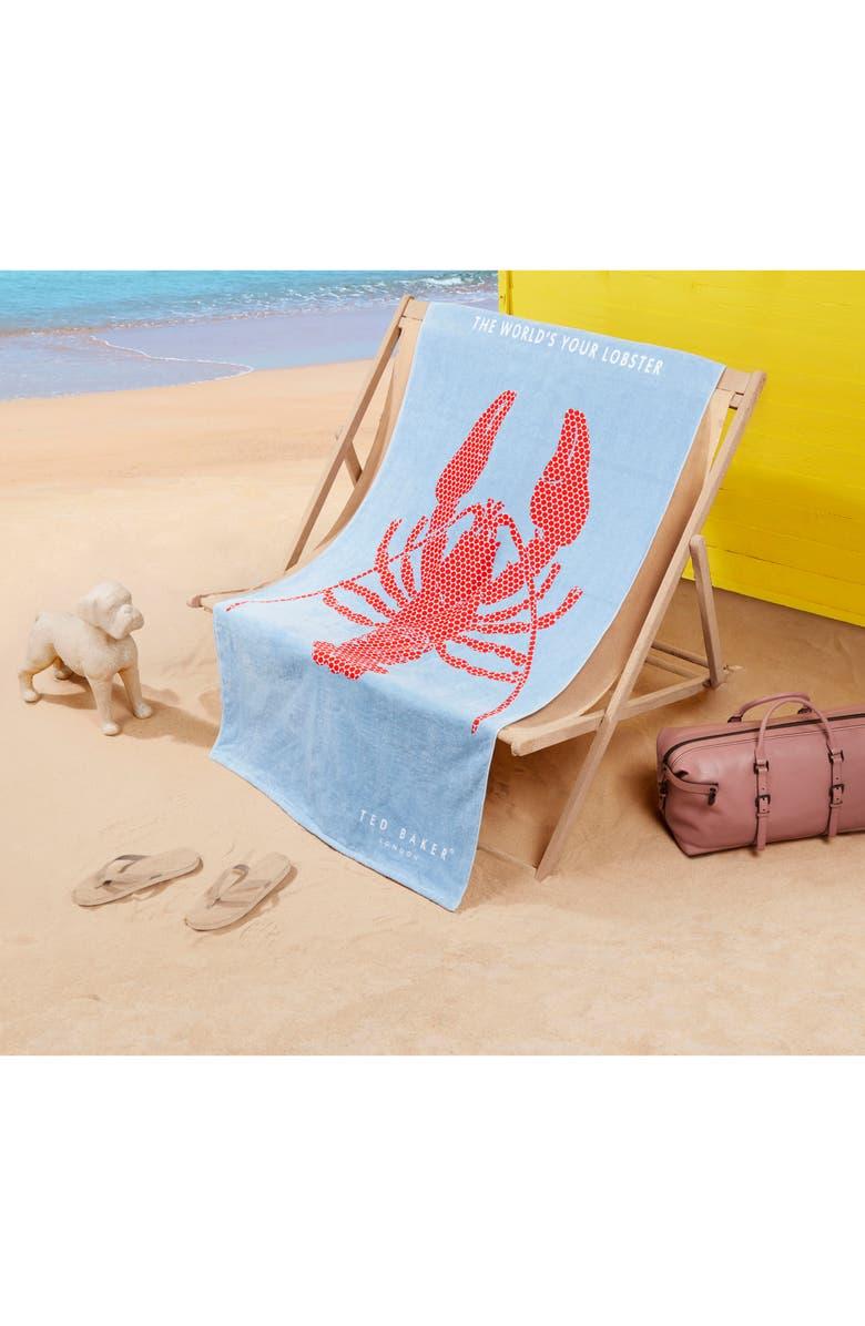 TED BAKER LONDON Lobster Beach Towel, Main, color, 400