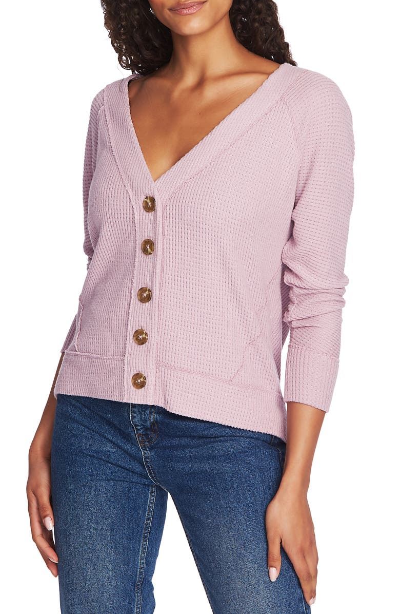1.STATE Button Front Crop Cardigan, Main, color, ANTIQUE ROSE
