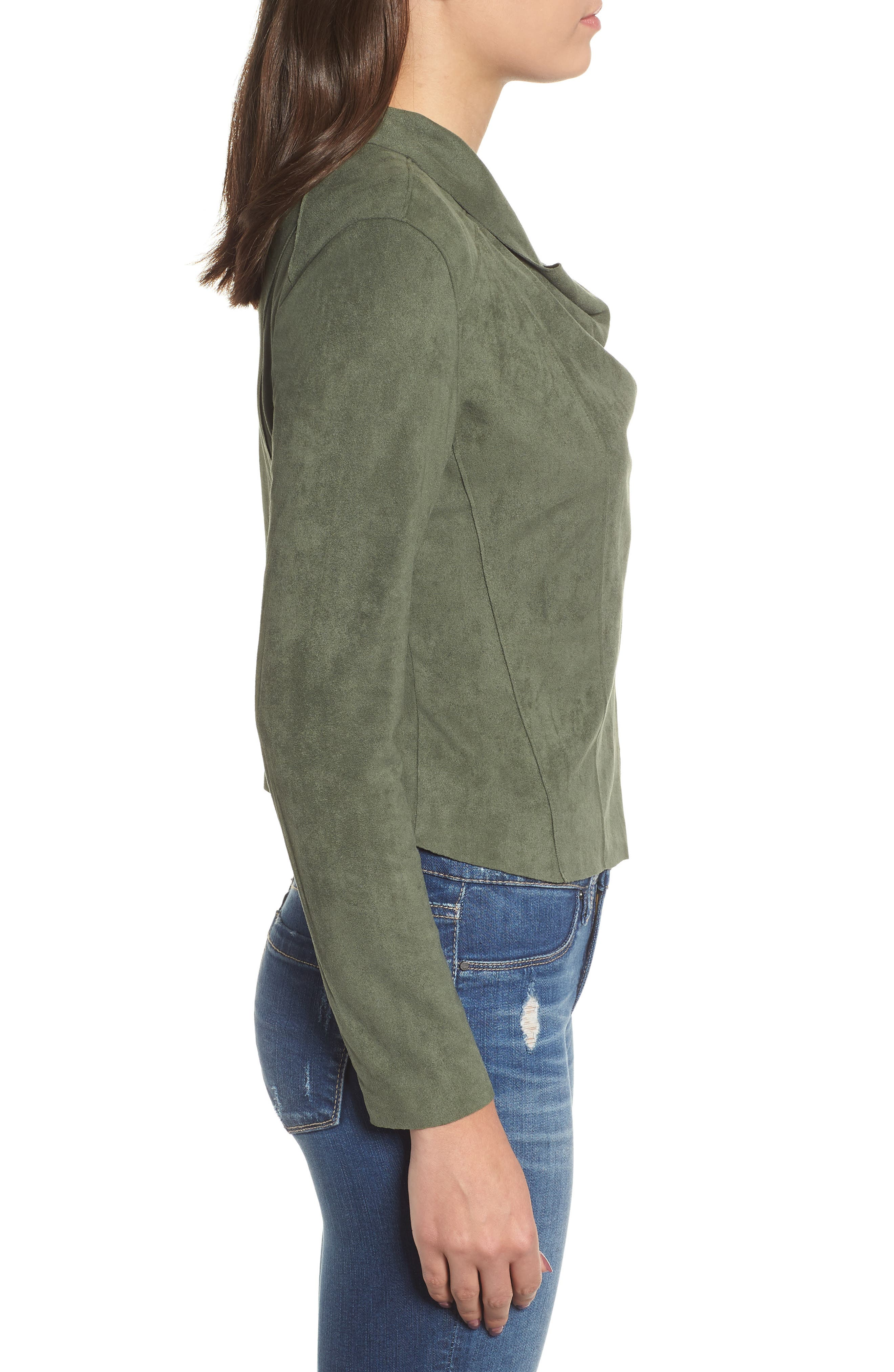 ,                             Drape Front Faux Suede Jacket,                             Alternate thumbnail 4, color,                             OLIVE