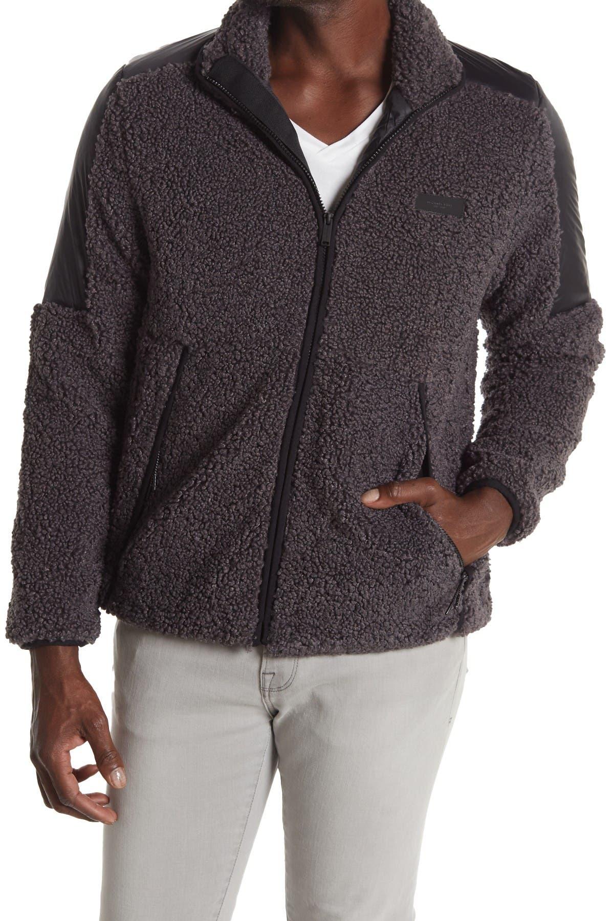 Image of Michael Kors Faux Shearling Fleece Zip Jacket