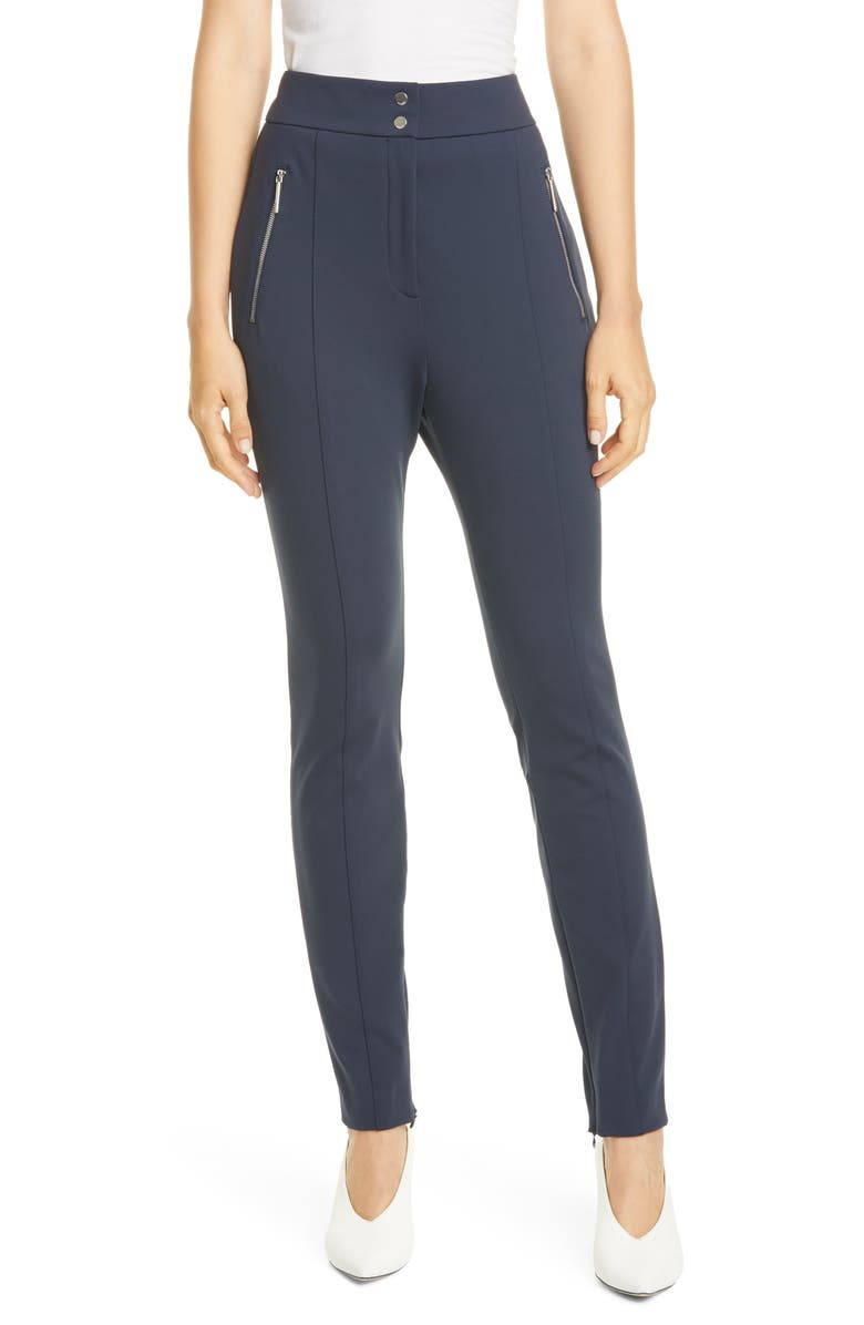 HUGO Hatine Zip Detail Slim Trousers, Main, color, NAVY
