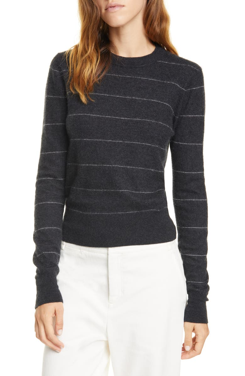 VINCE Stripe Fitted Cashmere Crewneck Sweater, Main, color, 064
