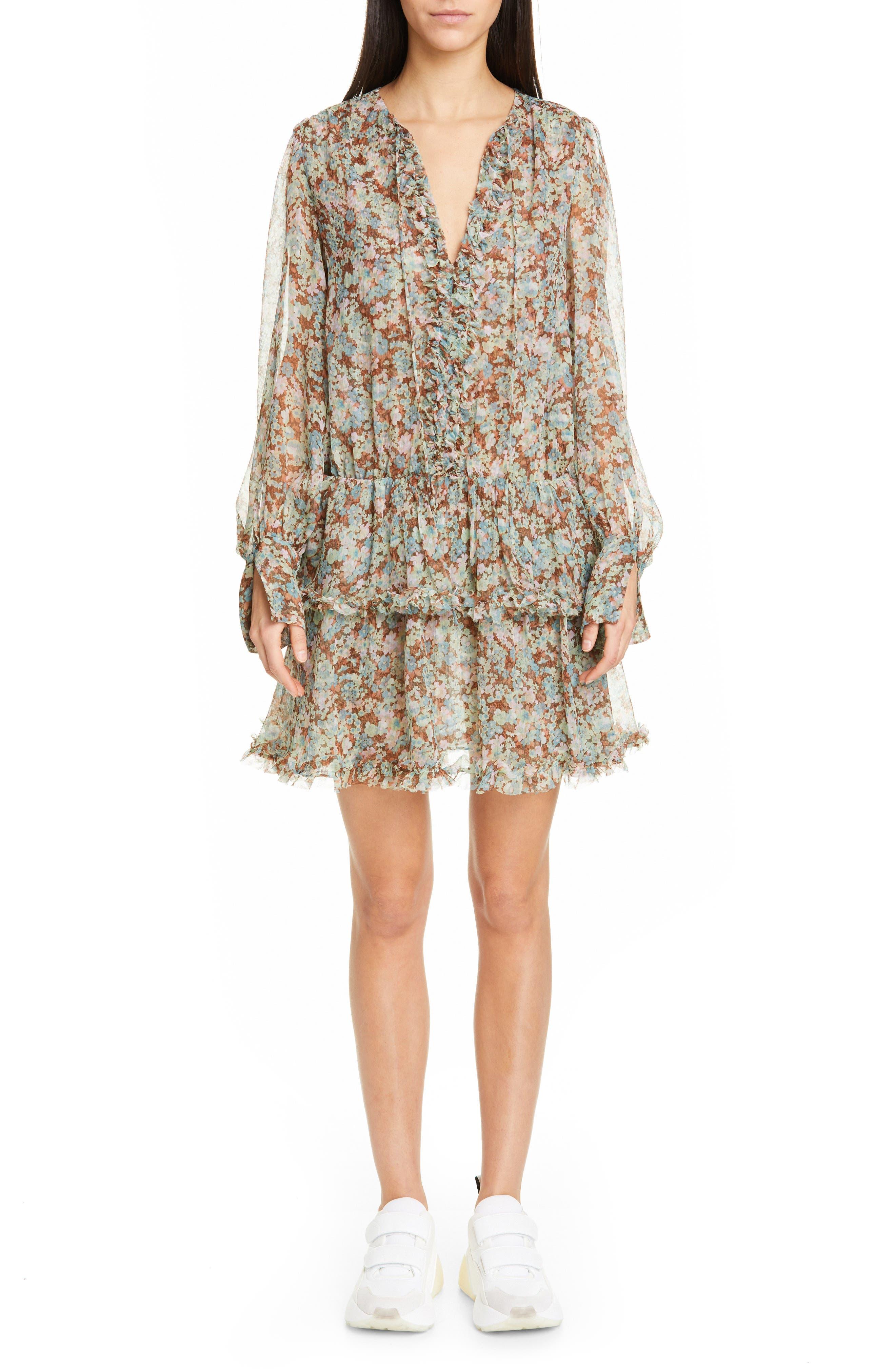 Meadow Floral Print Silk Dress, Main, color, MULTICOLOUR