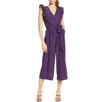 Chelsea28 Ruffle Crop Jumpsuit, Blue