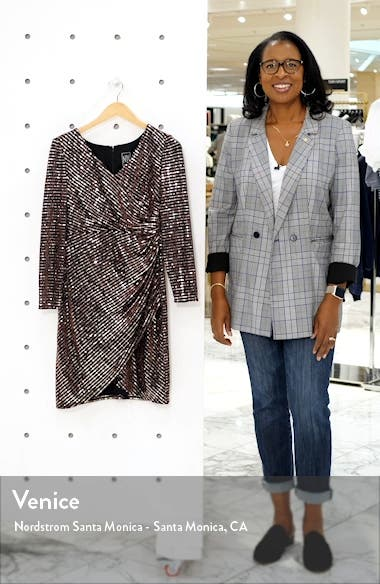 Sequin Embellished Long Sleeve Faux Wrap Dress, sales video thumbnail