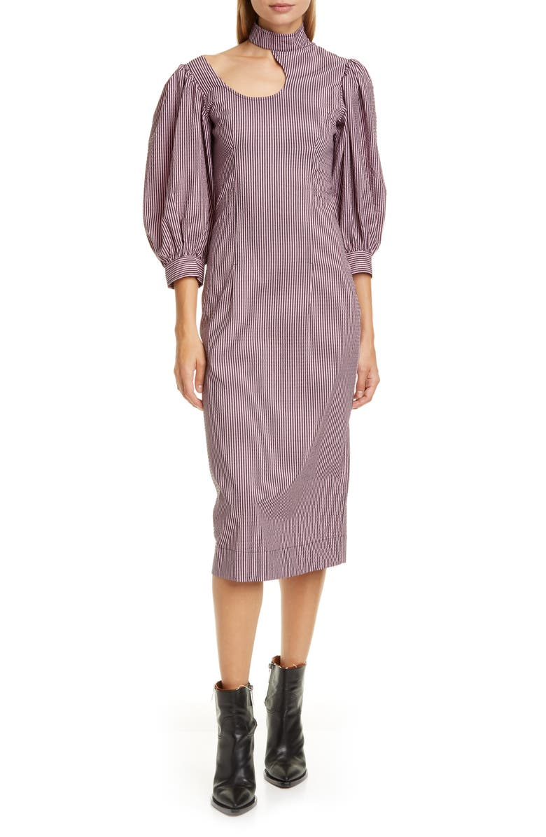 GANNI Stretch Seersucker Midi Dress, Main, color, MOONLIGHT MAUVE