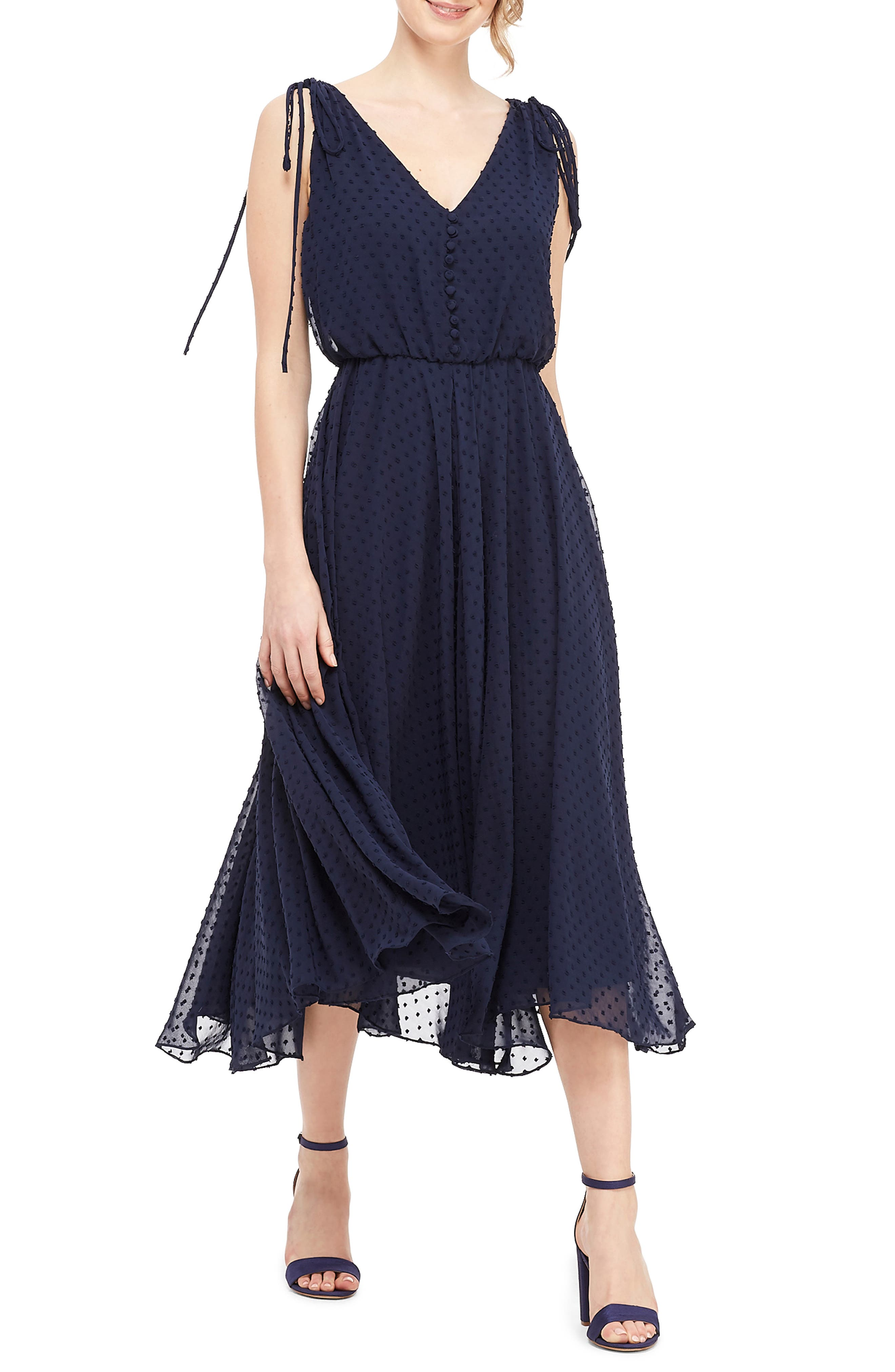 Gal Meets Glam Collection Hilary Clip Dot Chiffon Midi Dress, Blue