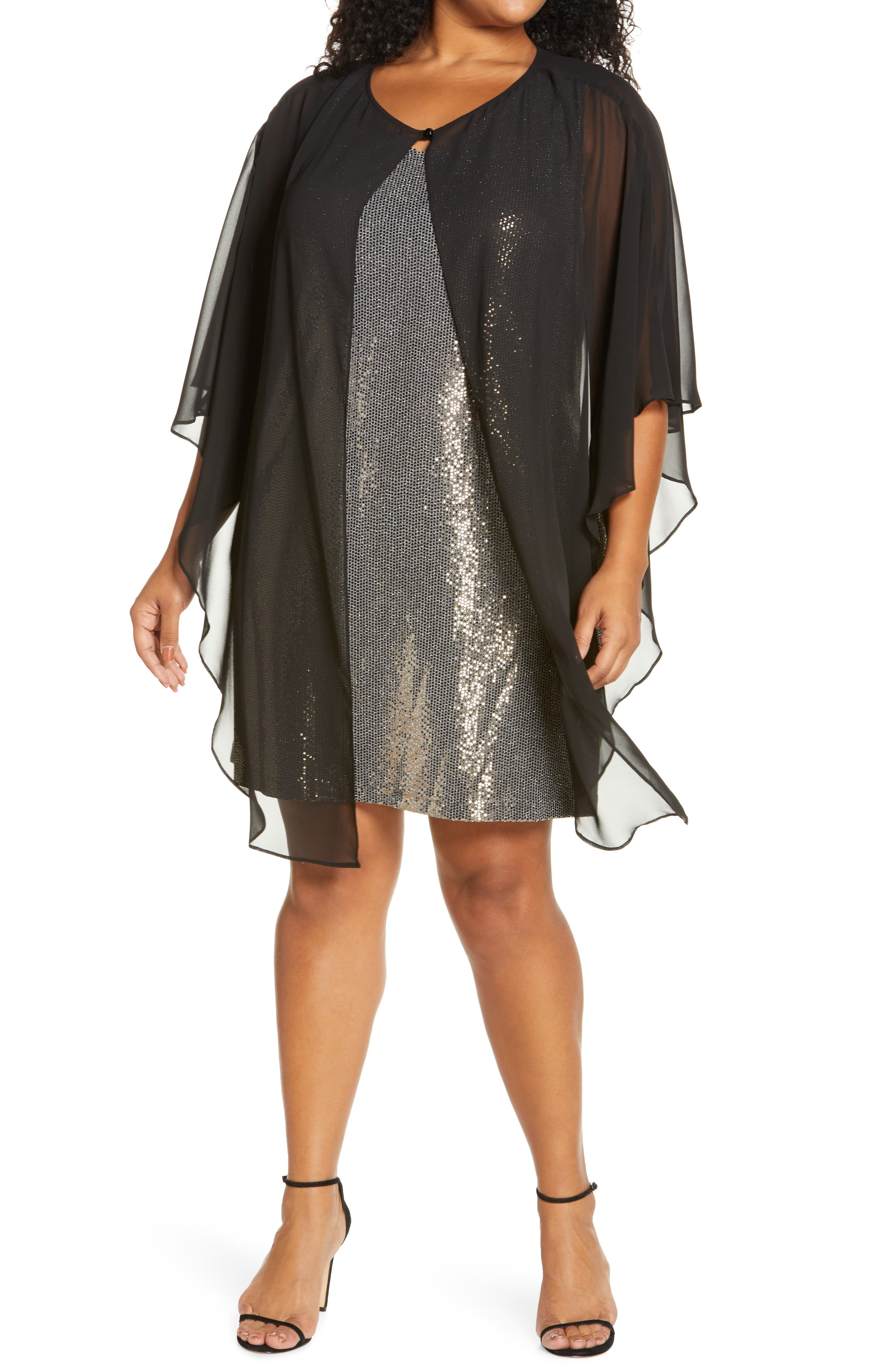 Lenny Sequin Cocktail Dress With Chiffon Overlay