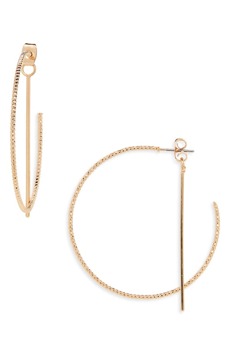 PANACEA Front/Back Hoop Earrings, Main, color, GOLD