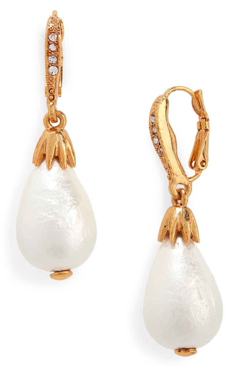 OSCAR DE LA RENTA Small Imitation Pearl Drop Earrings, Main, color, GOLD