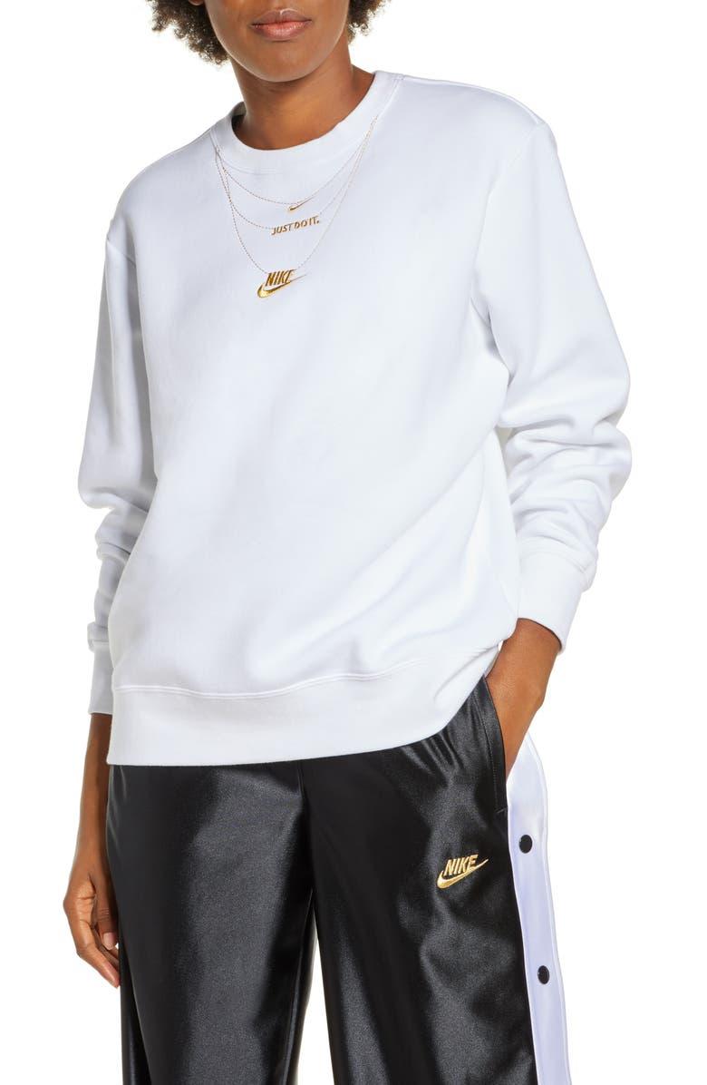 NIKE Sportswear Embroidered Glam Fleece Sweatshirt, Main, color, WHITE