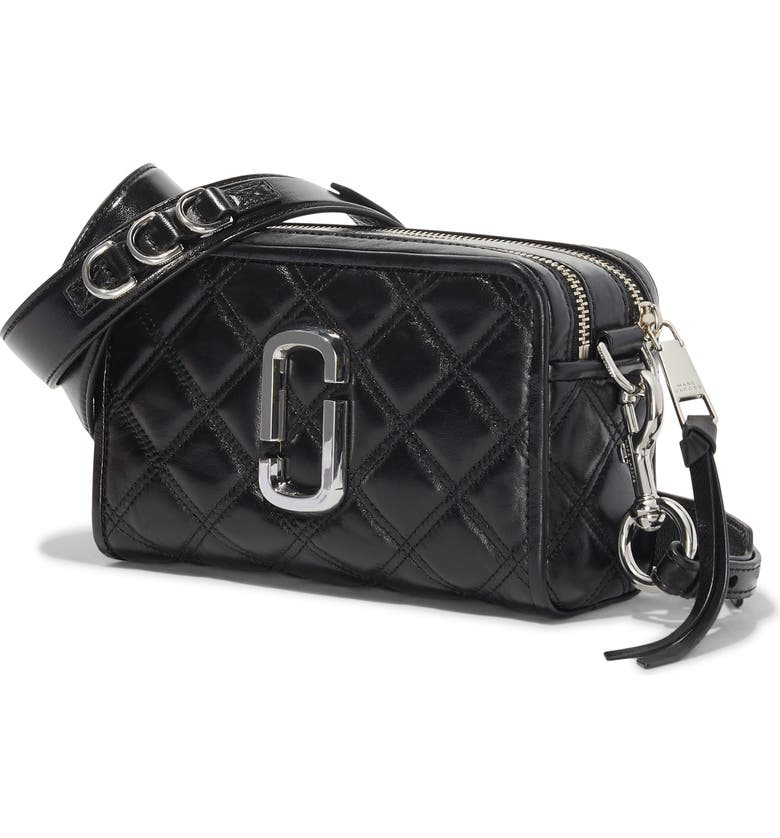 THE MARC JACOBS The Softshot 21 Quilted Leather Crossbody Bag, Main, color, BLACK