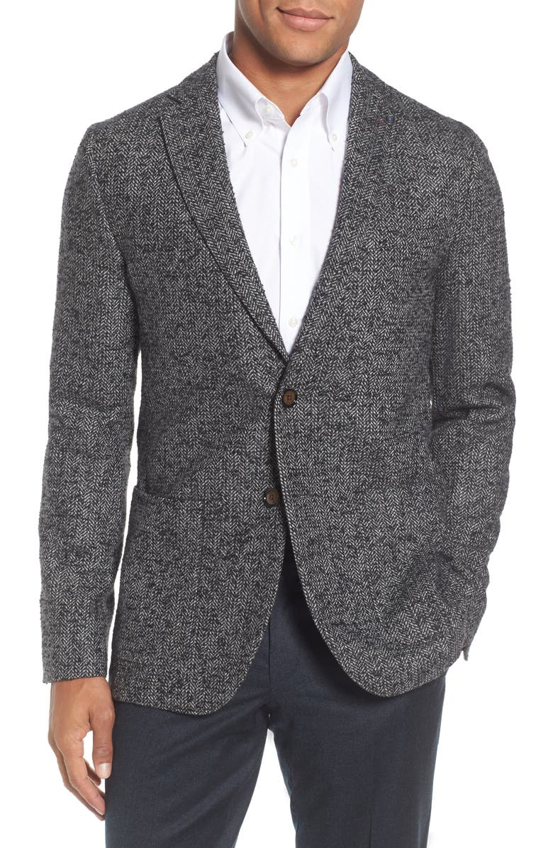 TED BAKER LONDON Herringbone Blazer, Main, color, 010