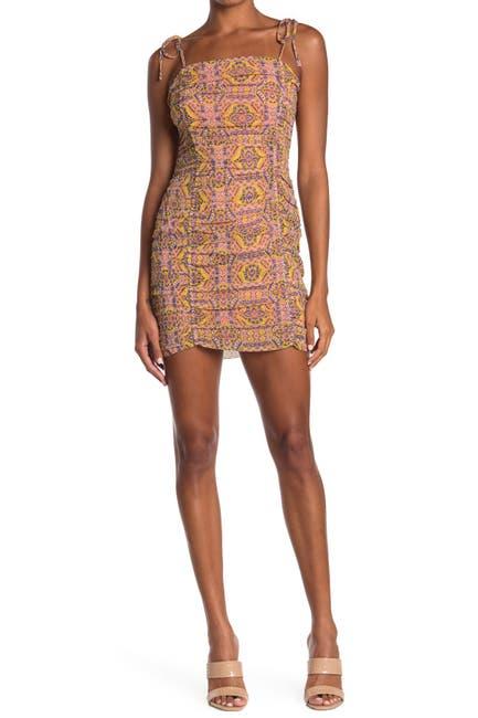 Image of Moon River Spaghetti Strap Geometric Print Ruched Dress