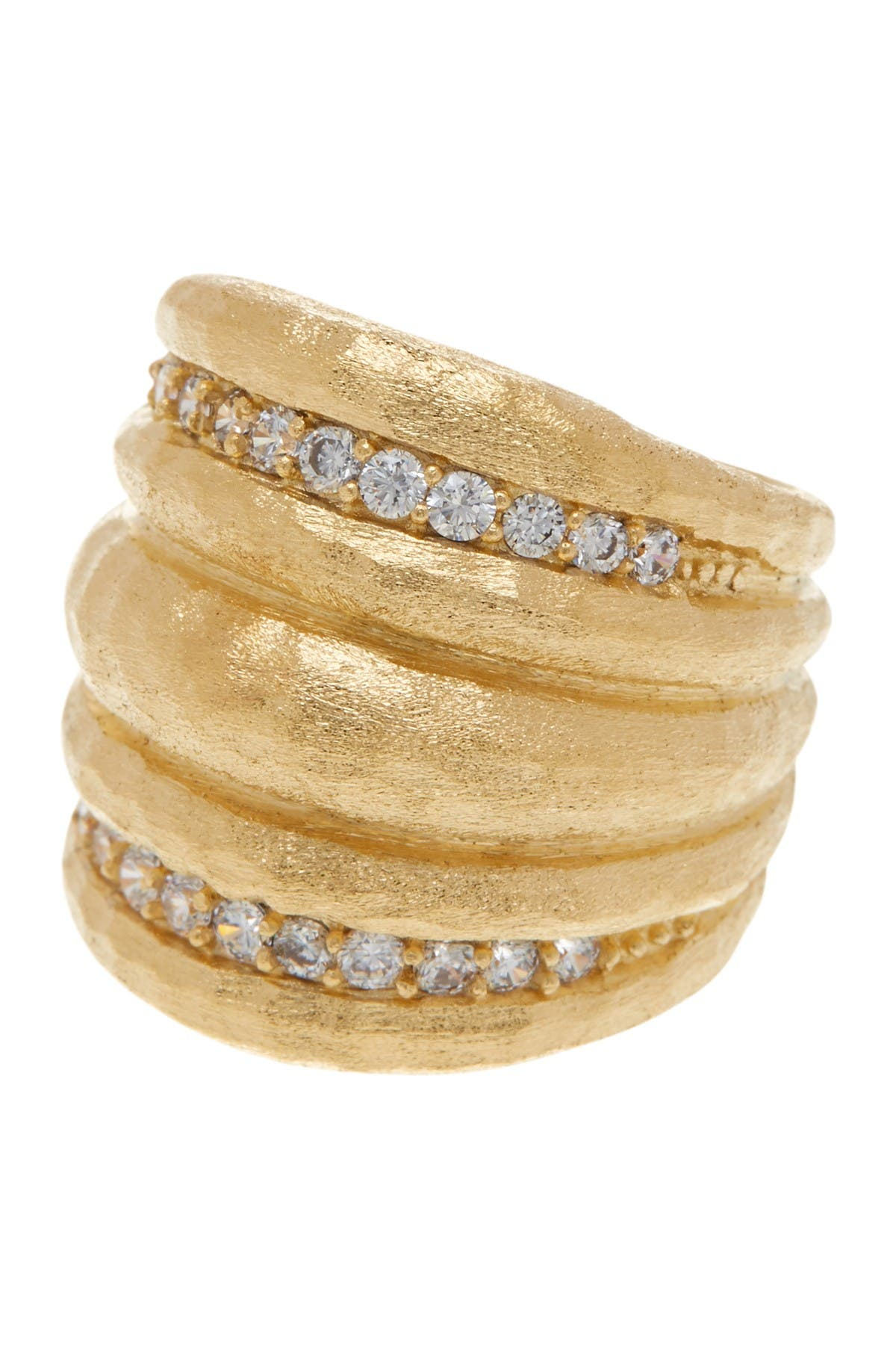 Image of Rivka Friedman 18K Gold Plated CZ Hammered Dome Ring