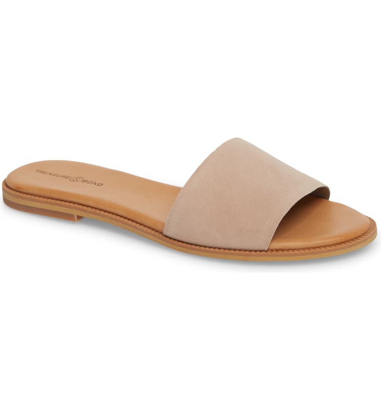 TREASURE & BOND Mere Flat Slide Sandal, Main, color, NEW BLUSH SUEDE